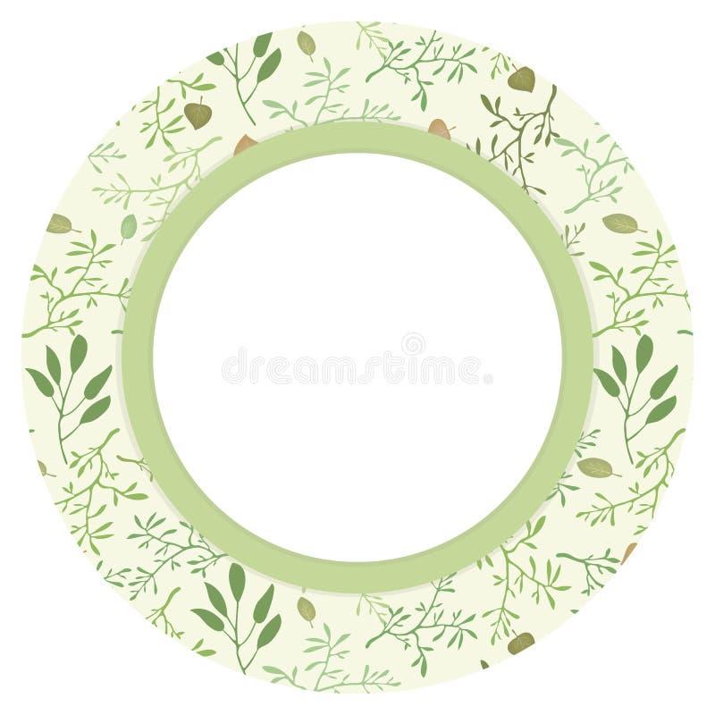 Cercle rond de guirlande avec un modèle de vecteur avec les branches et le fond végétatif naturel de feuilles avec un champ blanc illustration libre de droits