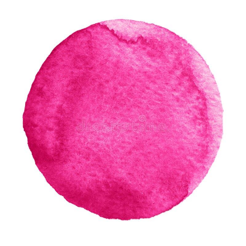 Cercle rose de millefeuille d'aquarelle sur le fond blanc illustration libre de droits