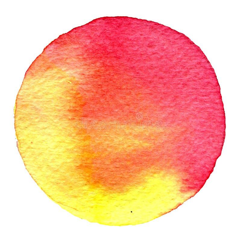 Cercle rouge d'aquarelle Tache avec la texture de papier Élément de conception d'isolement sur le fond blanc Calibre abstrait tir illustration stock