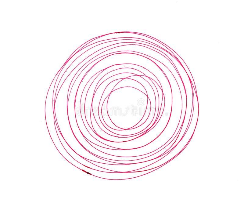 Cercle rouge de course de stylo d'isolement sur le blanc illustration stock