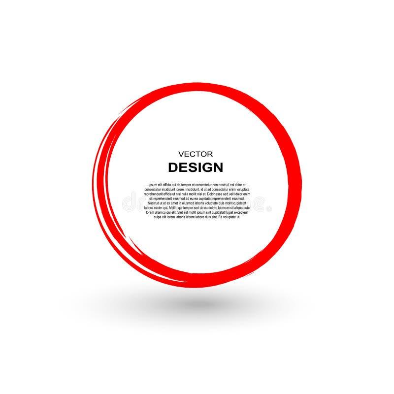 Cercle rouge de course de pinceau d'isolement sur le fond blanc Vecteur illustration libre de droits