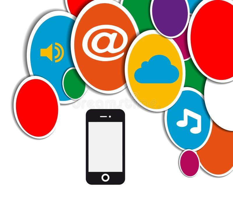 Cercle social mobile de réseau illustration de vecteur