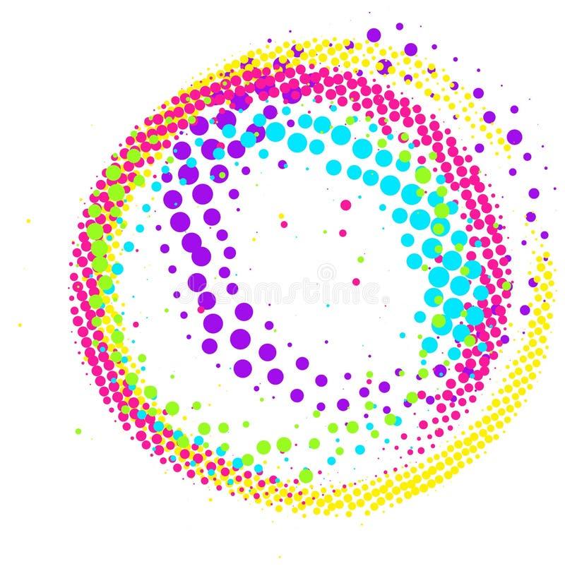 Cercle tramé coloré abstrait de remous de pinceau d'isolement illustration libre de droits