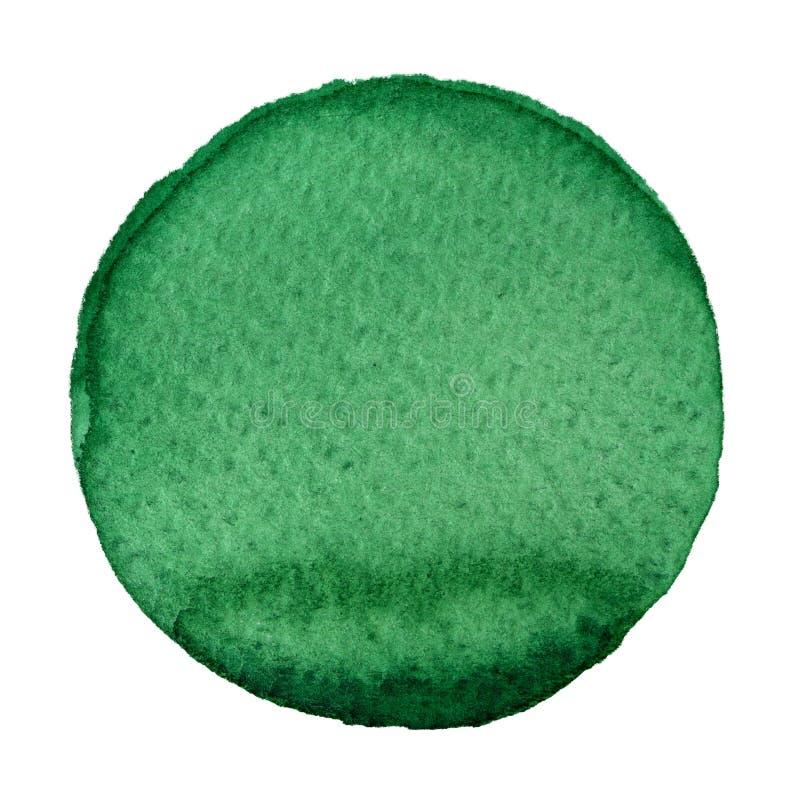 Cercle vert d'aquarelle sur le fond blanc illustration stock