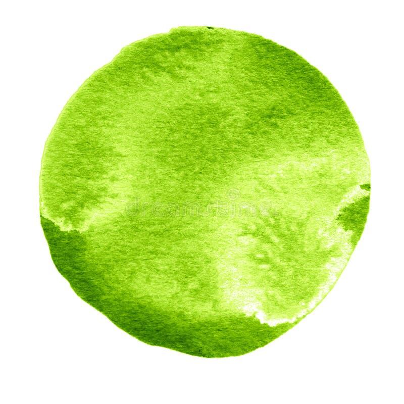 Cercle vert d'aquarelle Tache pour aquarelle sur le fond blanc illustration de vecteur