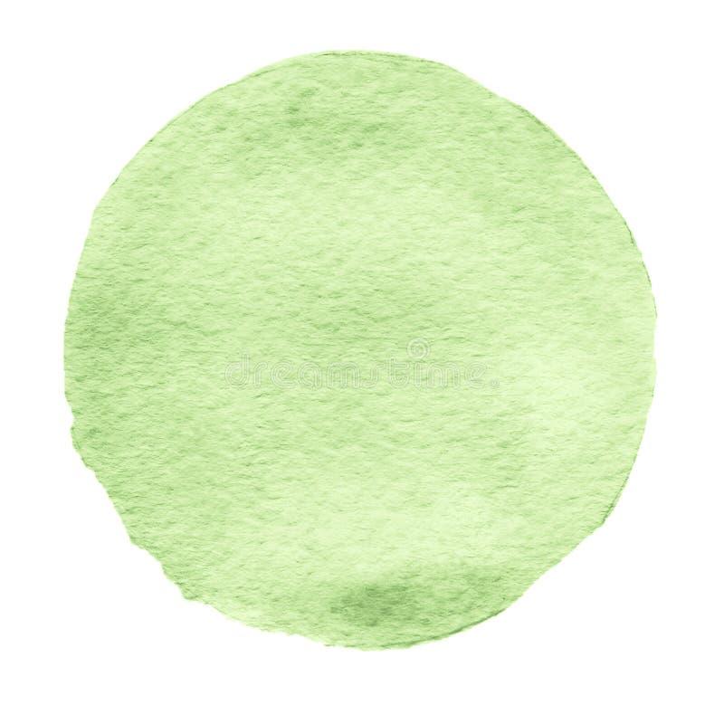 Cercle vert d'aquarelle Tache pour aquarelle sur le fond blanc illustration stock