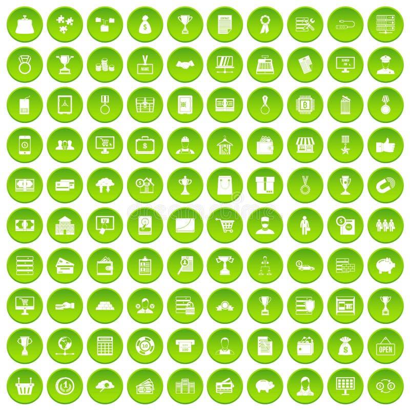 100 cercle vert réglé d'affaires par icônes illustration de vecteur