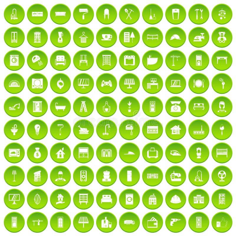 100 cercle vert réglé de maison par icônes confortables illustration de vecteur