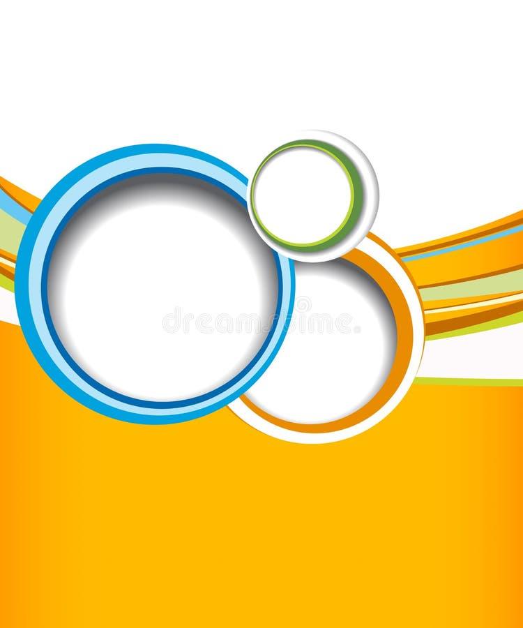 Cercle vert sur le fond orange de vague - conception d'insecte illustration libre de droits