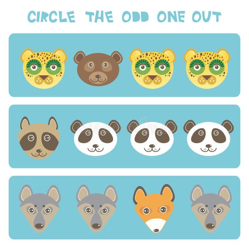 Cercle visuel de puzzle de logique l'impair  Les animaux de Kawaii maculent le léopard de chien de loup d'ours panda de raton lav illustration de vecteur