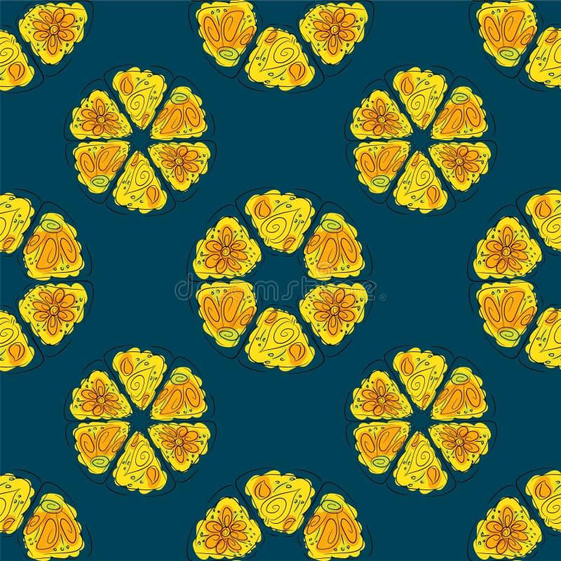 Cercles abstraits des fleurs et des feuilles illustration stock