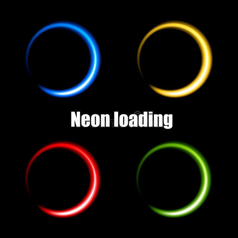 Cercles au néon colorés pour des données de chargement image libre de droits
