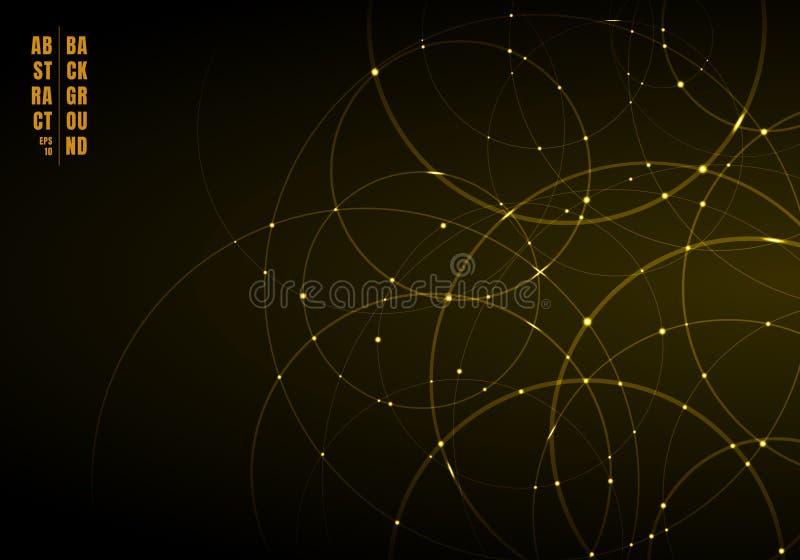 Cercles au néon d'or de résumé avec la lumière recouvrant sur le fond noir illustration stock