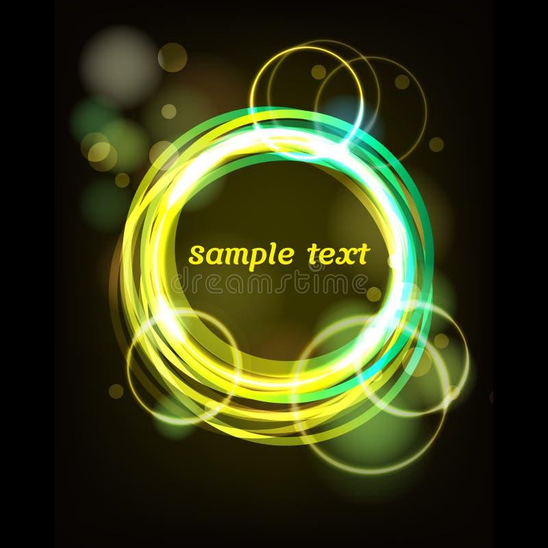 Cercles au néon jaunes et cadre vert illustration stock