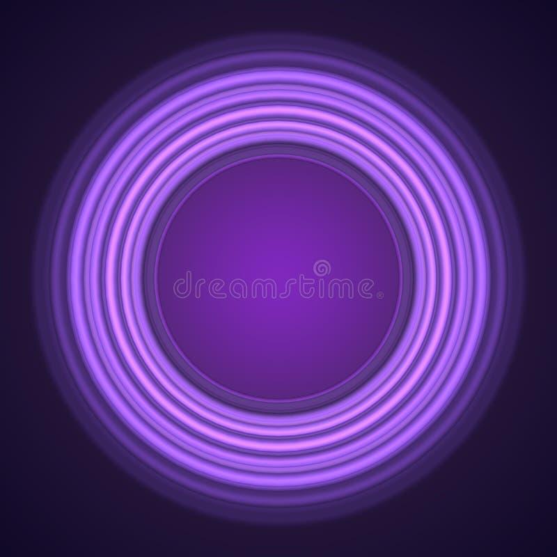 Cercles au néon pourpres sur le fond noir illustration de vecteur