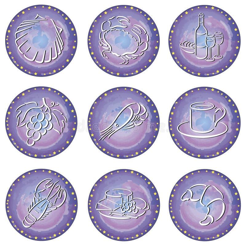 Cercles avec des symboles de nourriture illustration stock