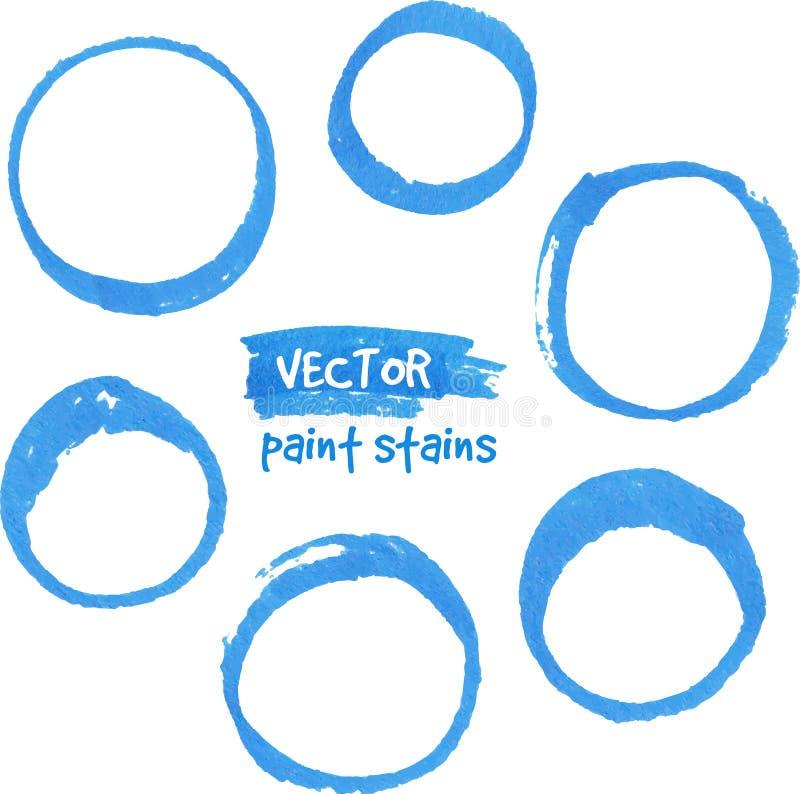 Cercles bleus de vecteur de peinture de marqueur réglés illustration libre de droits