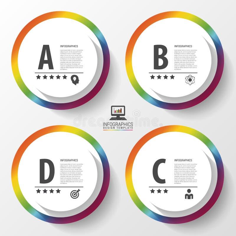 Cercles colorés de conception d'Infographic sur le fond gris Illustration de vecteur illustration stock