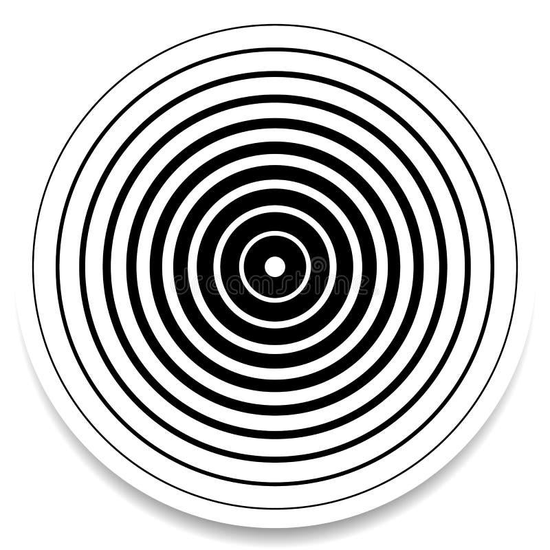 Cercles concentriques, élément géométrique abstrait d'anneaux Ondulation, im illustration stock