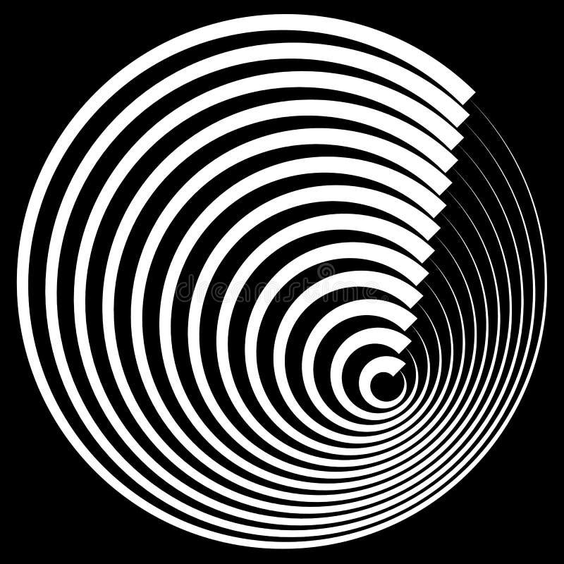 Cercles concentriques avec l'élément d'abrégé sur profil de course illustration stock