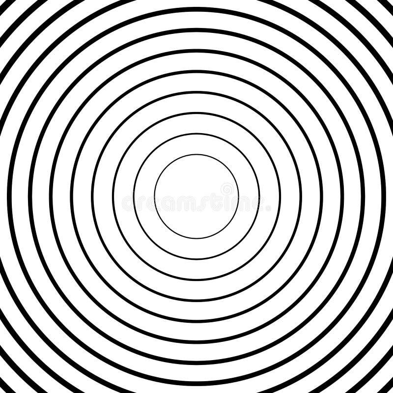 Cercles concentriques, lignes radiales modèles Résumé monochrome illustration libre de droits