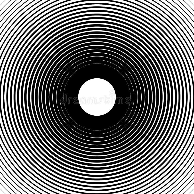 Cercles concentriques, lignes radiales modèles Résumé monochrome illustration stock