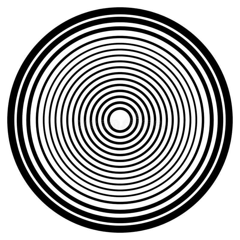 Cercles concentriques, modèle de circulaire d'anneaux concentriques Résumé illustration libre de droits