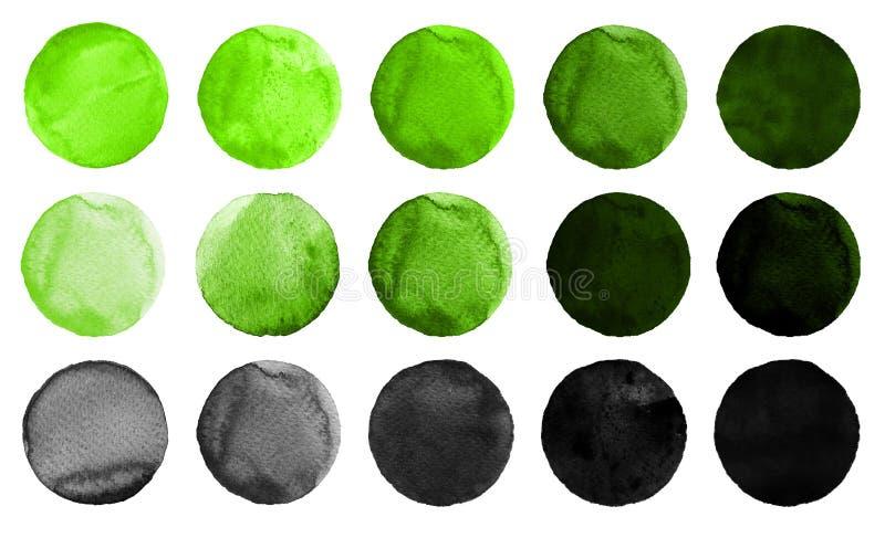 Cercles d'aquarelle aux nuances de couleur verte et noire d'isolement sur le fond blanc illustration libre de droits