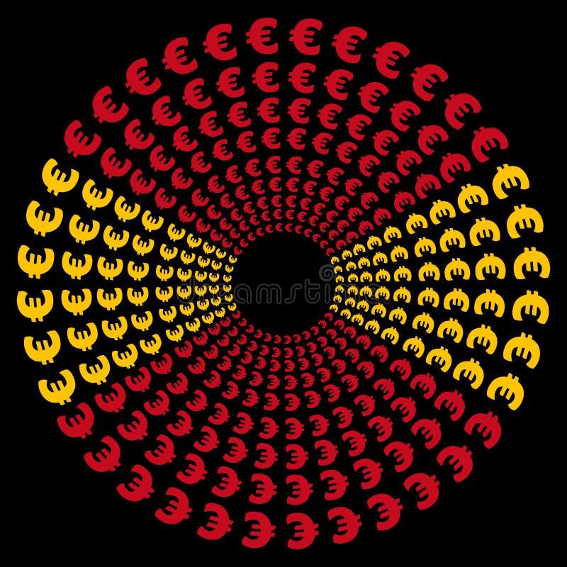 Cercles d'euro avec l'indicateur espagnol illustration de vecteur