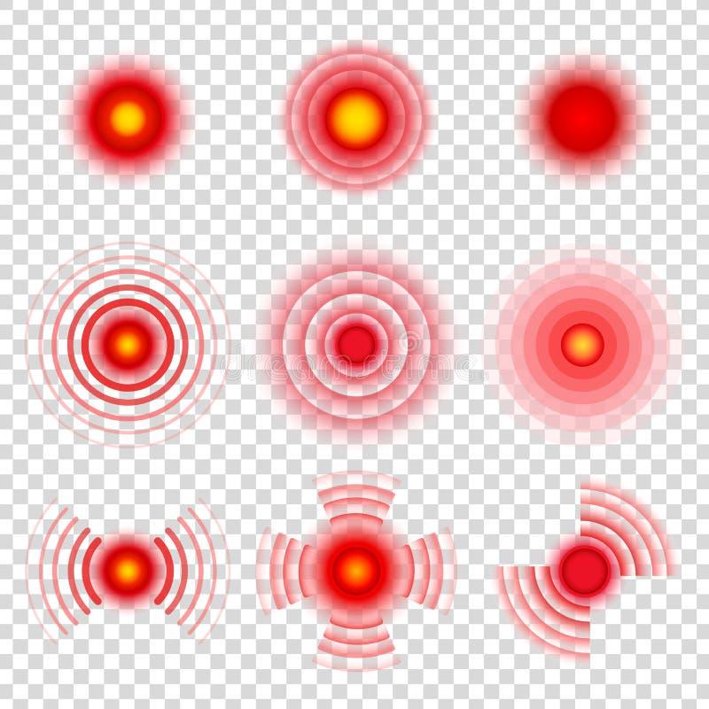 Cercles de douleur Marques douloureuses de tache de corps Icônes médicales de vecteur de calmant de migraine de thérapie illustration stock