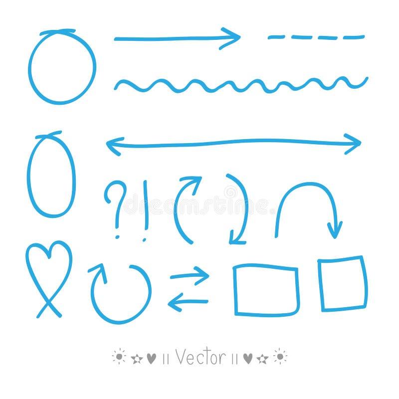 Cercles de flèches et ensemble abstrait de vecteur de conception d'écriture de griffonnage illustration libre de droits