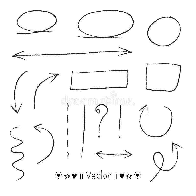 Cercles de flèches et ensemble abstrait de vecteur de conception d'écriture de griffonnage illustration stock