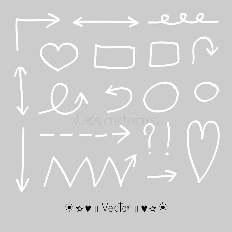 Cercles de flèches et ensemble abstrait de vecteur de conception d'écriture de griffonnage illustration de vecteur