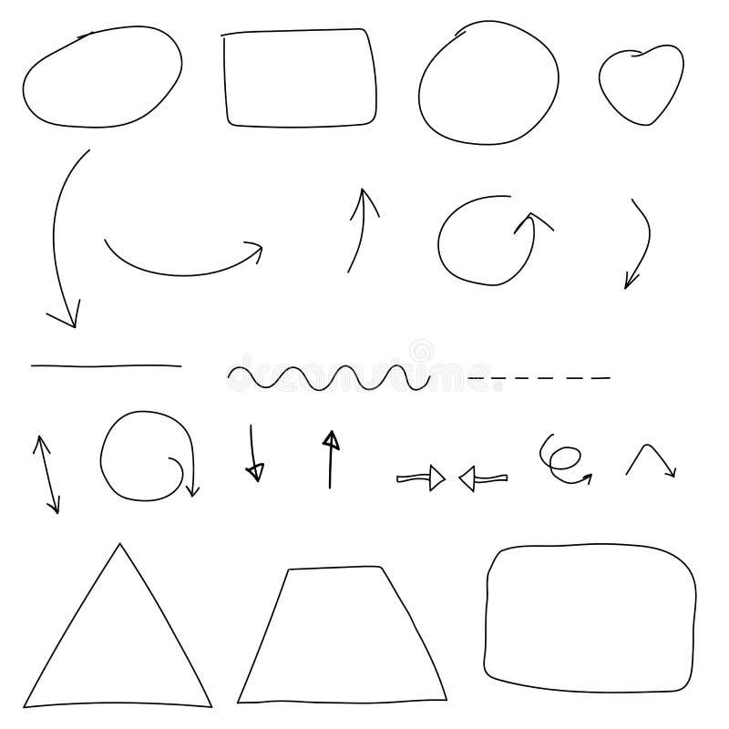 Cercles de flèches et vecteur abstrait de conception d'écriture de griffonnage sur le petit morceau illustration libre de droits