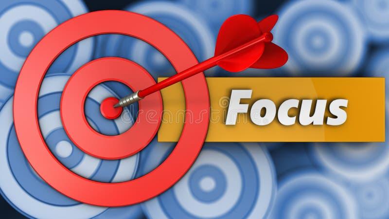 cercles de la cible 3d avec le signe de foyer illustration de vecteur
