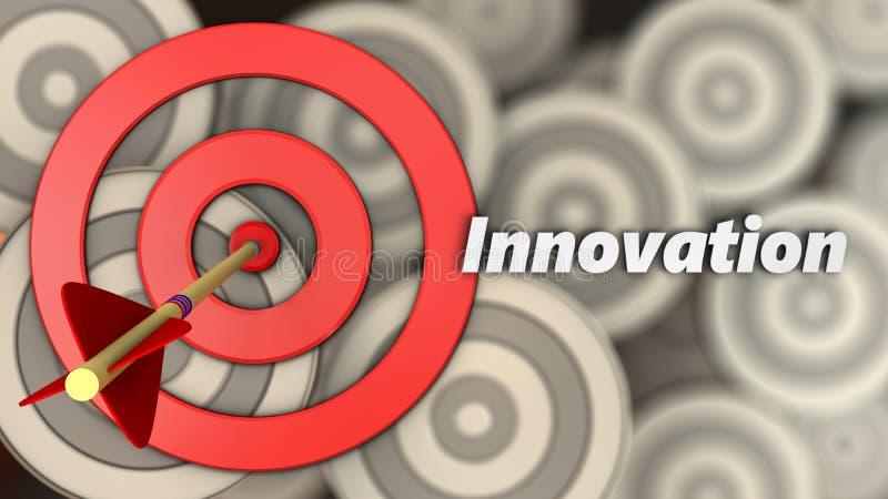 cercles de la cible 3d avec le signe d'innovation illustration libre de droits