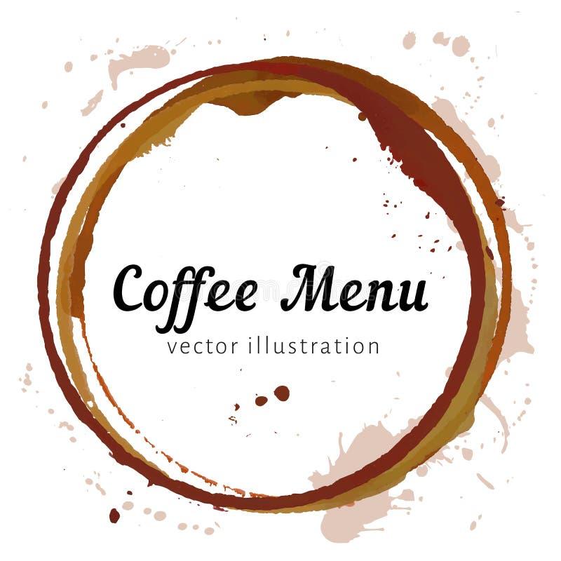 Cercles de tache de café illustration stock