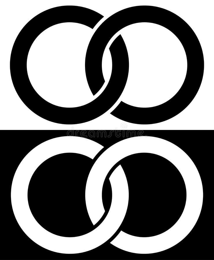 Cercles de verrouillage, icône abstraite d'anneaux Concept IC de connexion illustration libre de droits
