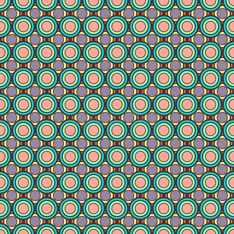 Cercles en pastel colorés de résumé, ornement géométrique, modèle sans couture multicolore, tuile ronde, rétro illustration, boul illustration de vecteur