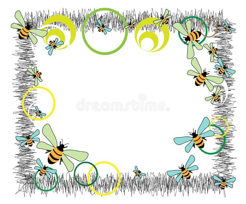 Cercles et abeilles illustration stock