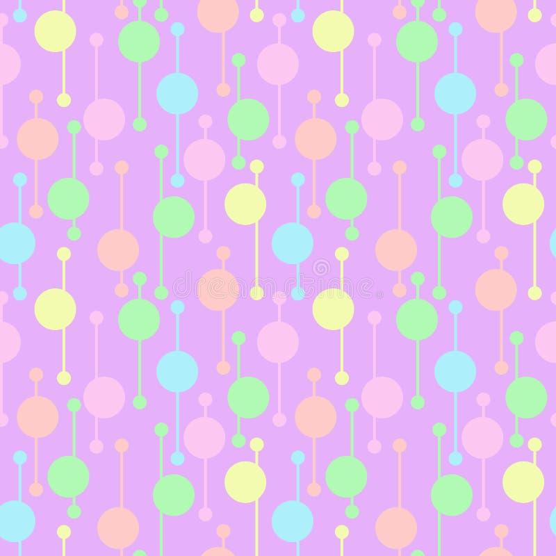 Cercles et lignes colorés géométriques simples sur le fond clair Modèles sans couture de vecteur lumineux de résumé pour le texti illustration stock