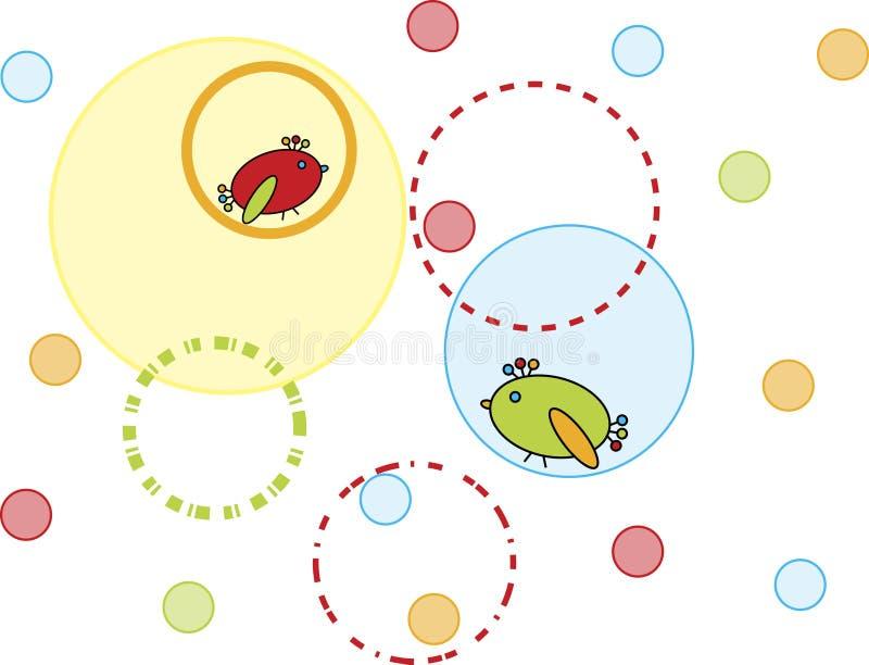 Cercles et oiseaux illustration libre de droits