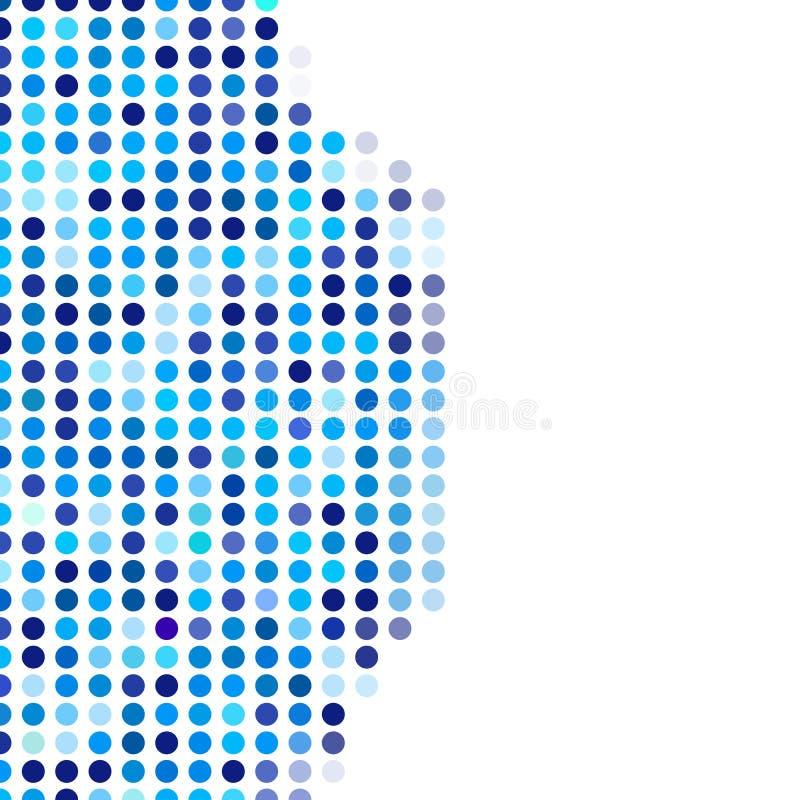 Cercles foncés de fond de mosaïque et bleu-clair aléatoires, modèle de vecteur des points de polka, modèle souple neutre pour la  illustration de vecteur