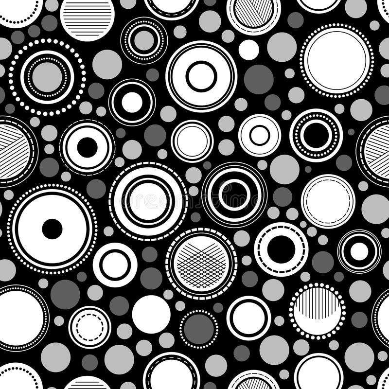 Cercles géométriques abstraits noirs et blancs modèle sans couture, vecteur illustration de vecteur