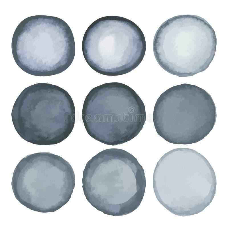 Cercles gris-clair d'aquarelle réglés illustration de vecteur