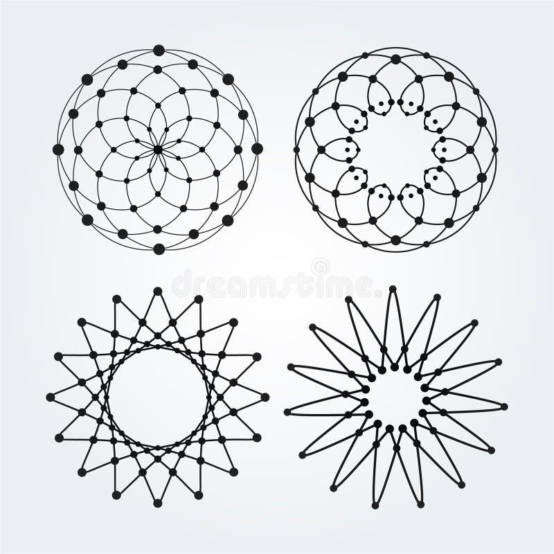 Cercles linéaires de vecteur, étoiles, logos abstraits en spirale et formes rondes Éléments de conception des points et des ligne illustration de vecteur