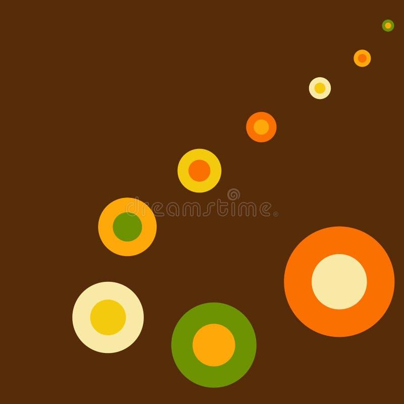 Cercles oranges géométriques de jaune de vintage de conception de vecteur de calibre de carte d'invitation rétros, verts et beige illustration stock