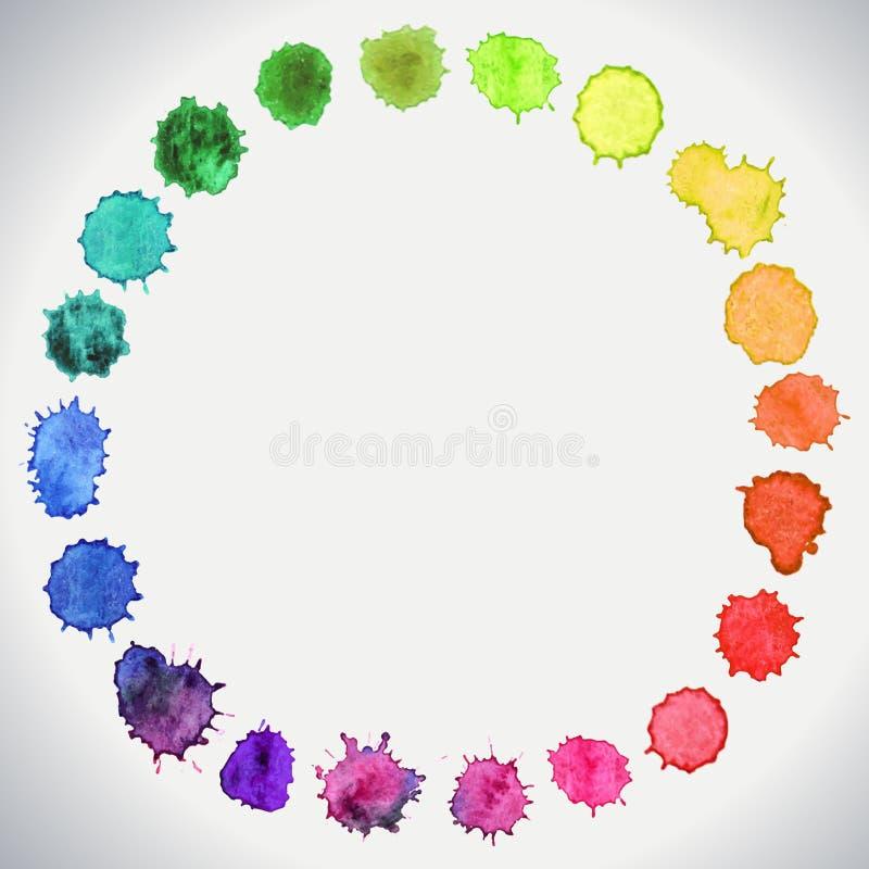 Cercles peints à la main d'aquarelle illustration stock