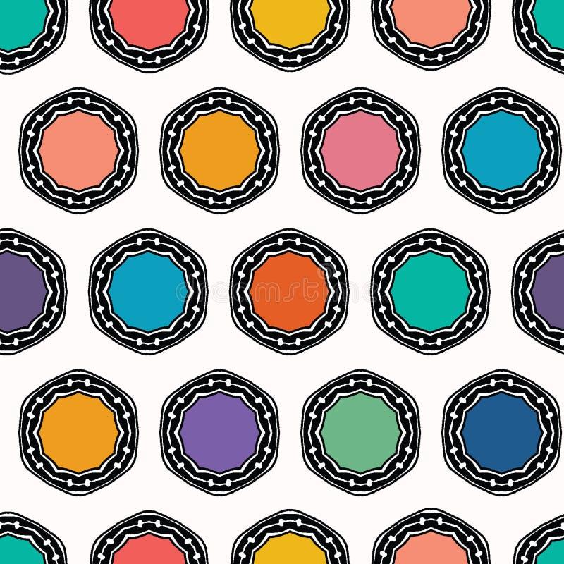 Cercles pointill?s de coupe organique abstraite Fond sans couture de mod?le de vecteur Style tiré par la main de couvercle de des illustration libre de droits
