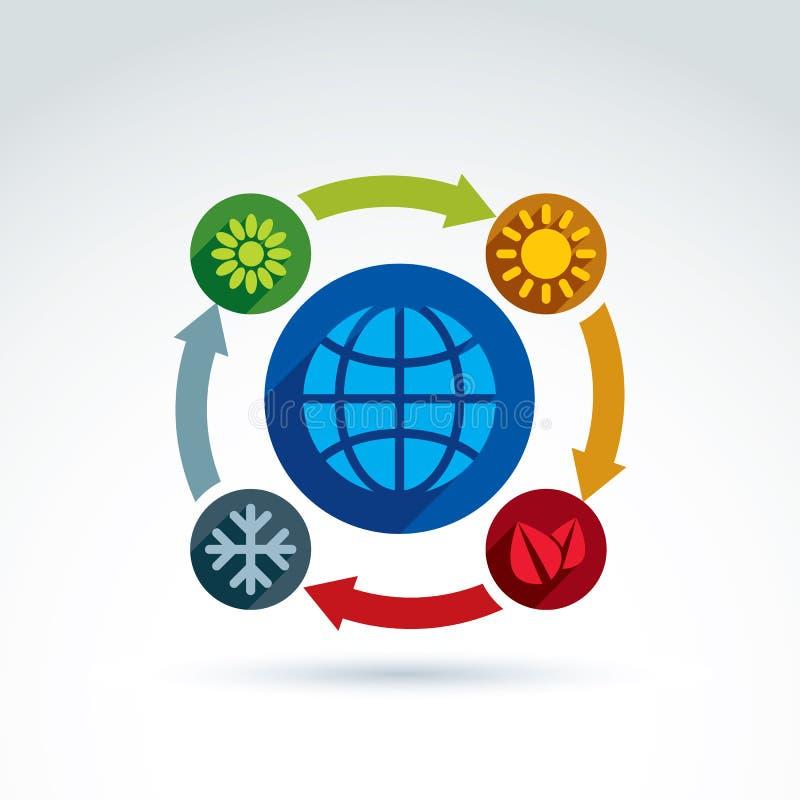 Cercles reliés avec des symboles verts de saison illustration libre de droits